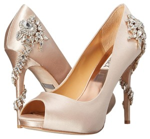 Badgley Mischka Royal Satin Peep Toe Nude satin Platforms