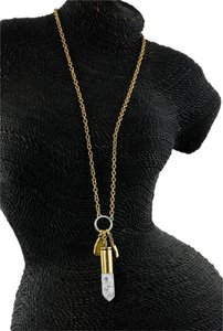 Crystal Charm Chain Gold Tone Necklace Crystal Charm Chain Gold Tone Necklace