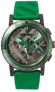 Burberry Burberry The City Sport Chronograph Black Check Stamped Dial Green Rubber Mens Watch 43mm