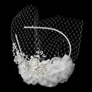 Elegance by Carbonneau Ivory Birdcage Floral Headband with Blusher Bridal Veil