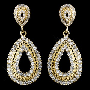 Elegance By Carbonneau Dazzling Gold Rhinestone Wedding And Prom Earrings