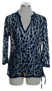 Tommy Bahama Lace 3/4 Sleeve Sheer Top Blue