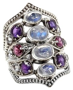 Nicky Butler Nicky Butler 2ct Moonstone and Gemstone Sterling Silver Crest Ring - Size 8