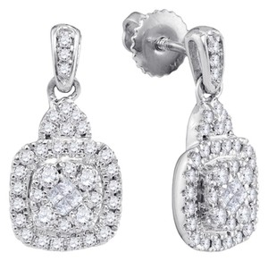 Other DESIGNER 10k WHITE GOLD 0.47 CTTW DIAMOND LUXURY FASHION PAVE EARRINGS By BrianGdesigns