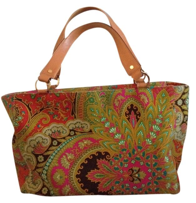 Item - Multi-orange Brown Green Paisley Cotton Satchel