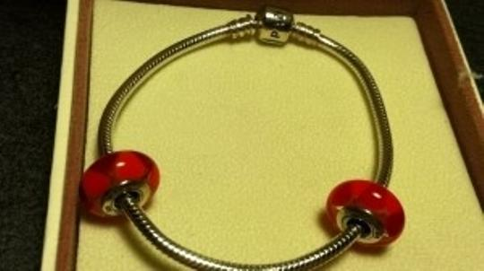 PANDORA Pandora Bracelet w/2 red Murano glass beads