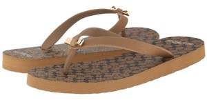 Coach Brindle Flip Flops Leather Brinde and Black Sandals