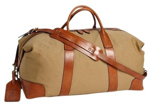 3bda45d5c13b Polo Ralph Lauren Duffle Large Brown Canvas  Leather Weekend Travel ...