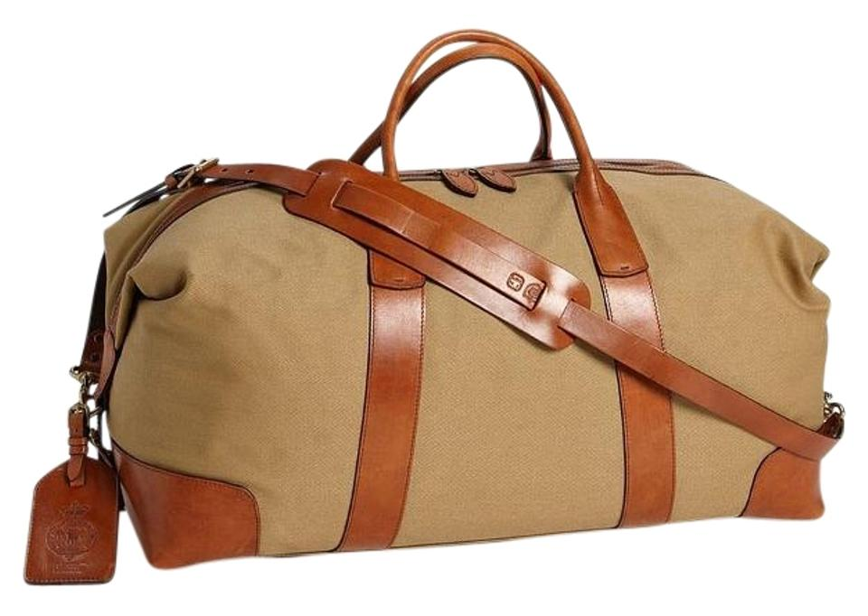 2f81b37f71 Polo Ralph Lauren Duffle Large Brown Canvas  Leather Weekend Travel ...