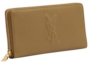 Saint Laurent YSL Women's Belle De Jour Gold Zip Around Leather Wallet