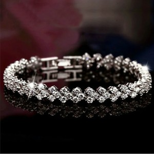 9.2.5 Crystal Bridal Engagement Wedding Bracelet Heart Chain Link Cuff Sterling Silver Diamond Cz 7 Inch