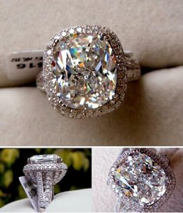 Size 8 Huge 8 Carat Wedding Bridal Engagement Ring Platinum Diamond Certify Sona
