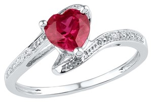 Other DESIGNER 10k WHITE GOLD 1.01 CTTW DIAMOND & HEART RUBY LADIES LUXURY FASHION RING By BrianGdesigns