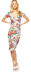 Other Floral Print Midi Bodycon V Neck Dress