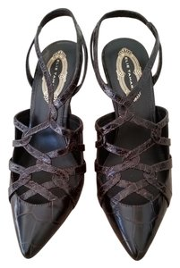 Elie Tahari Heels Heels Strappy Crocodile dark brown -