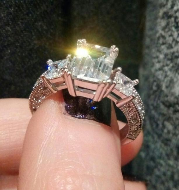 Item - Cut Three Sterling Silver S925 Stone Tier Diamond Cz Sterling Silver Proposal Engagement Ring