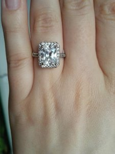 9.2.5 5678 In Stock 4 Carat Square Cushion Sterling Silver S925 Diamond Engagement Cz Bridal Proposal Ring Wedding