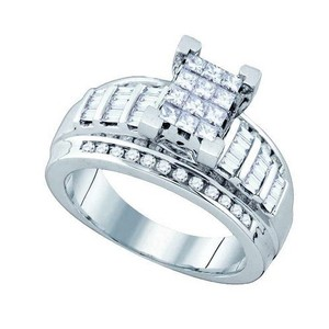 Luxury Designer 10k White Gold 0.90 Cttw Diamond Engagement Ring Invisible Bridal Set