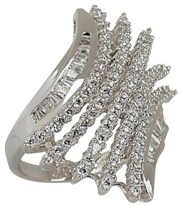 Victoria Wieck Victoria Wieck 1.37ct Absolute Pave' and Baguette Bypass Sterling Silver Ring - Size 6