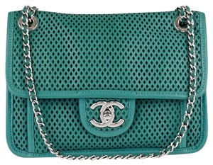 b6f26a44b6b5bf Chanel Classic Flap Perforated Up In The Air Small Green Leather ...