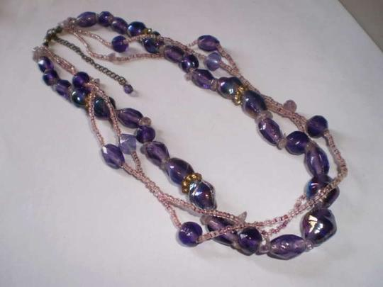 Preload https://item4.tradesy.com/images/three-strand-purple-and-lavender-beaded-necklace-167448-0-0.jpg?width=440&height=440