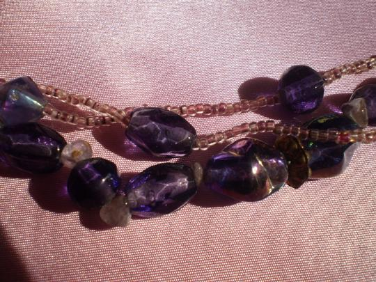 Other Three strand purple & lavender beaded necklace