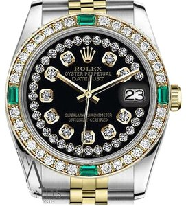 Rolex Women's Rolex 31mm Datejust 2Tone Glossy Black String Emerald Diamond AccentDial