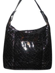 Eric Javits Leather Crocodile Tote in Black