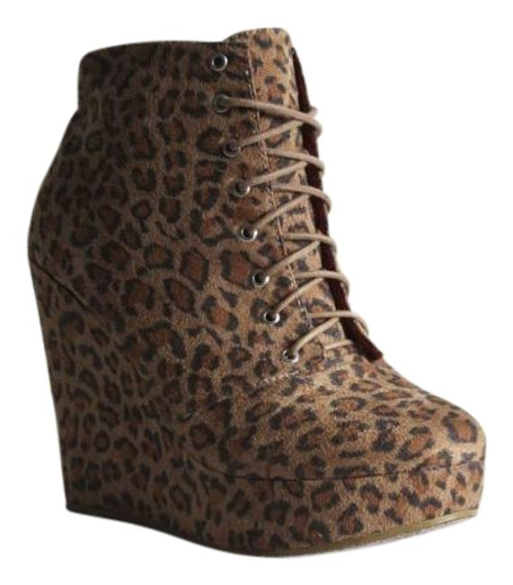 Item - Leopard Print Brown Black Pink Wedge Boots/Booties Size US 8.5 Regular (M, B)