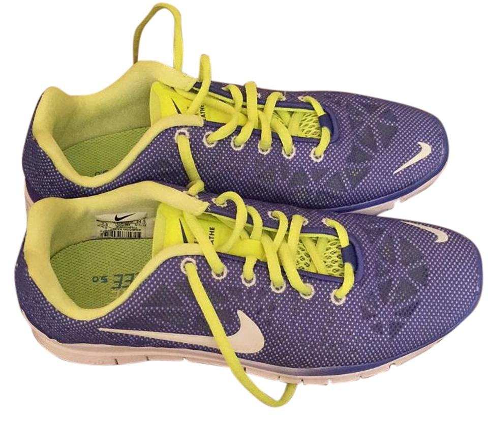 Nike Violet and Neon Breathe Yellow Free Tr Fit 3 Breathe Neon Sneakers eaa09b
