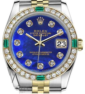 Rolex Women's Rolex 31mm 2Tone Blue Color Treated MOP Emerald Diamond