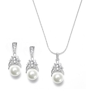 Silver/Rhodium Of 3 Regal Art Nouveau Crystals Pearls Bridesmaids Jewelry Set