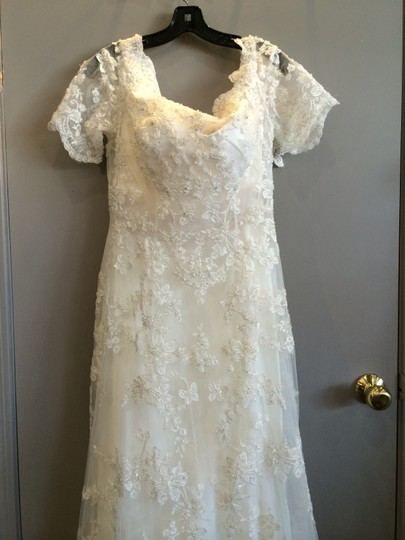 Ivory/Cream/Silver Lace Traditional Dress Size 14 (L)