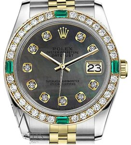 Rolex Women's Rolex 31mm 2 Tone Black MOP Emerald Dial with Diamonds