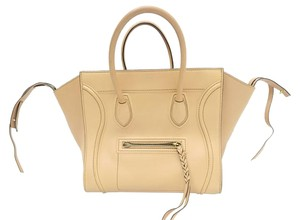 Céline Celine Phantom Leather Tote in nude