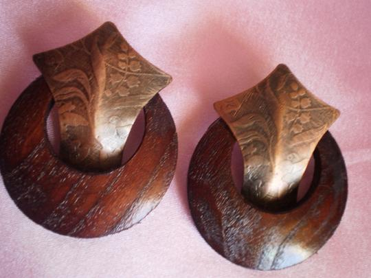 Other Vintage Bronze & Wood Earrings