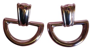 MONET Vintage Signed MONET Stainless Steel Door Knocker Earrings