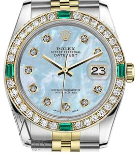 Rolex Rolex 36mm Datejust 2Tone Baby Blue MOP Dial Emerald with Diamond