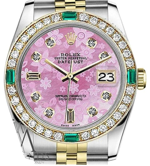 Preload https://img-static.tradesy.com/item/16746931/rolex-ladies-26mm-datejust-2-tone-pink-flower-emerald-mother-of-pearl-watch-0-1-540-540.jpg