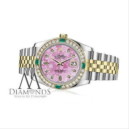 Rolex Ladies Rolex 26mm Datejust 2 Tone Pink Flower Emerald Mother of Pearl