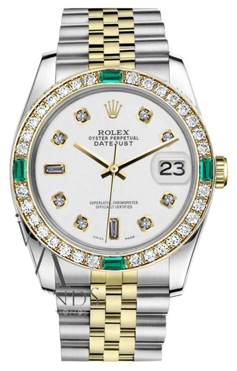 Rolex Women's Rolex 31mm Datejust 2Tone White Dial with 8+2 Emerald Diamond