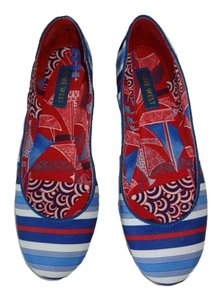 Nine West Fabric NEW RED/WHITE/BLUE STRIPE Flats