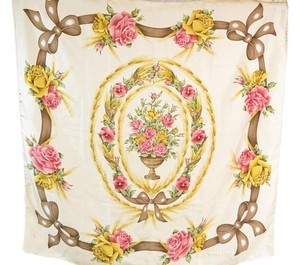 Dior Authentic Christian Dior Beige Floral Silk Scarf 34