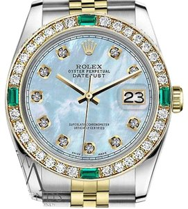 Rolex Women's Rolex 31mm Datejust 2 Tone Baby Blue MOP Dial Diamond