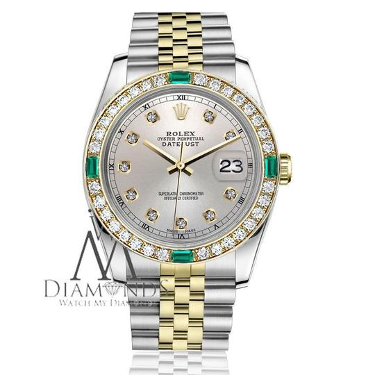 Rolex Rolex 36mm Datejust 2Tone Silver Color Dial with Emerald Diamond
