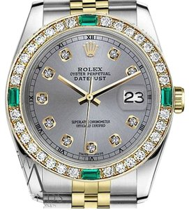Rolex Rolex 36mm Datejust 2Tone Grey Color Dial with Emerald Diamond Accent RT