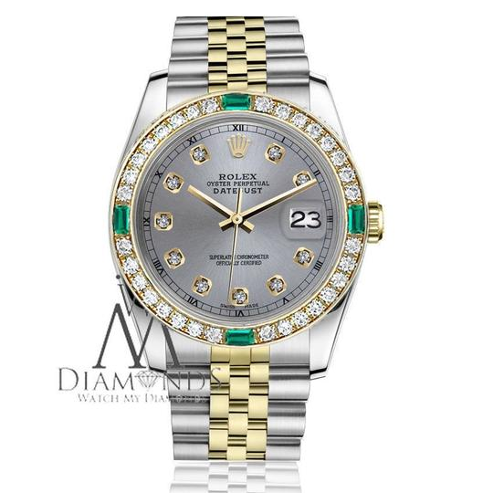Rolex Rolex 36mm Datejust 2Tone Grey Color Dial with Emerald Diamond