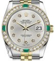 Rolex Rolex 36mm 2Tone Silver Color Dial with 10 Round Emerald Diamond Image 0