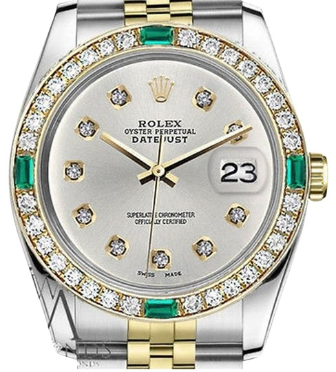 Preload https://img-static.tradesy.com/item/16747795/rolex-36mm-2tone-silver-color-dial-with-10-round-emerald-diamond-watch-0-1-540-540.jpg