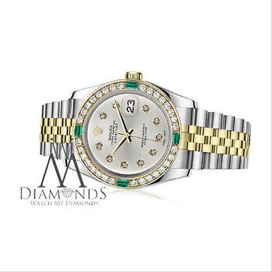Rolex Rolex 36mm 2Tone Silver Color Dial with 10 Round Emerald Diamond Image 1